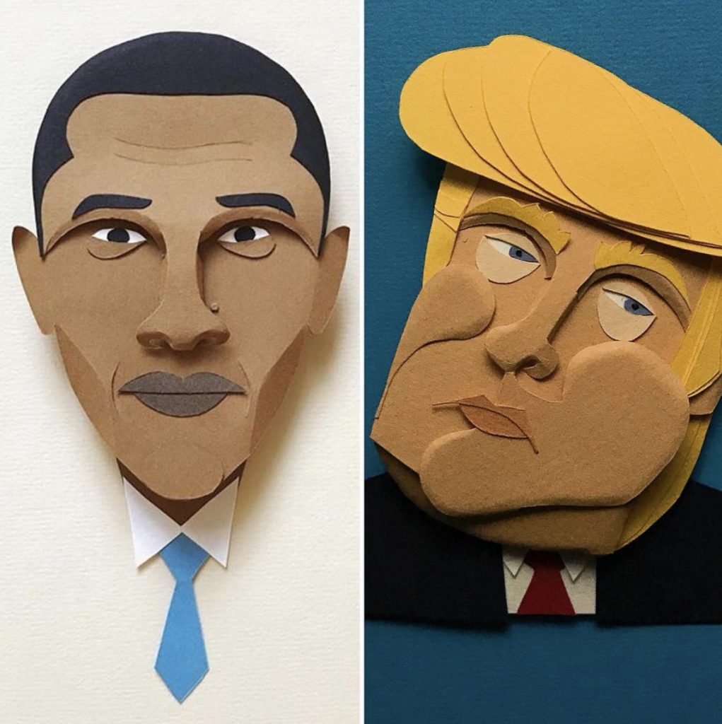 Elisabetta Quaraniello-obama-trump-paper-cutting
