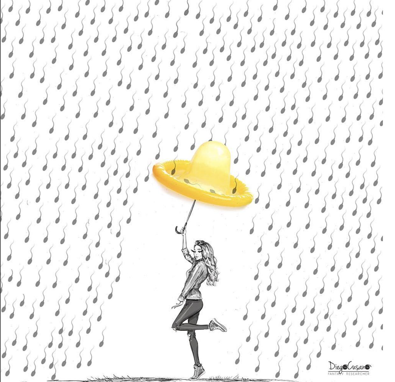 Diego Cusano - ombrello e spermatozoi